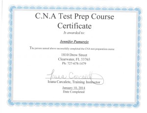 Jennifer Pumarejo's Certificate